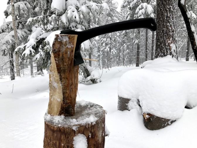 Snøfokk og vind i Lillomarka